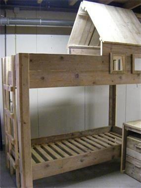 Foto Hoogslaper boomhut oud gebruikt steigerhout Huis en Inrichting Bedden