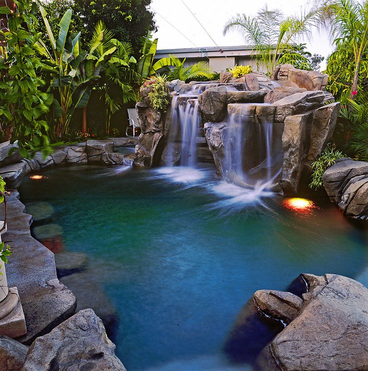 small backyard pool designs with waterfallsgrottosstoneworktropical landscaping and much