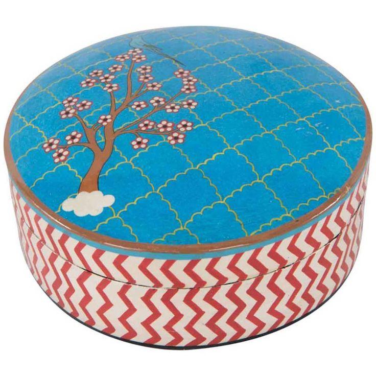 Storage - Mediterranean Blue Hand Painted Box - Hutsly