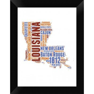 Naxart Louisiana Word Cloud Map Framed Textual Art on Canvas