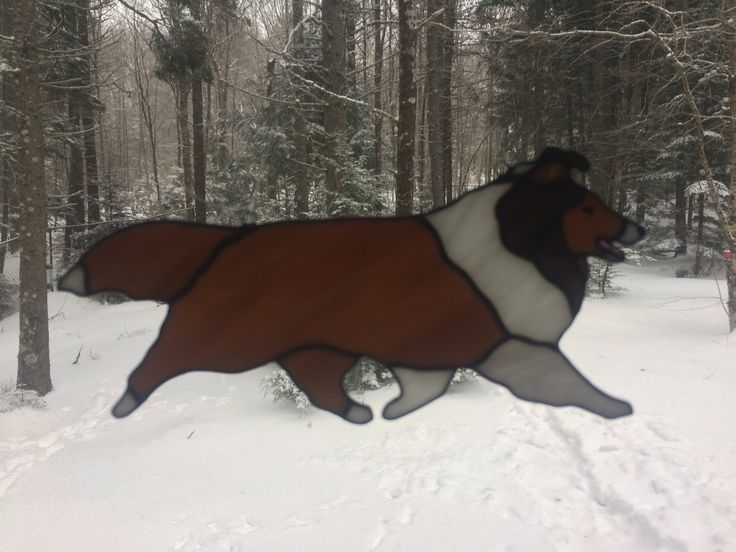 Stained Glass Suncatcher - Sheltie by CrystalCaveGlassArt on Etsy
