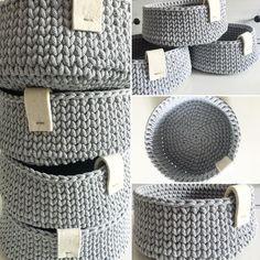 корзинки связанные из шнура для вязания