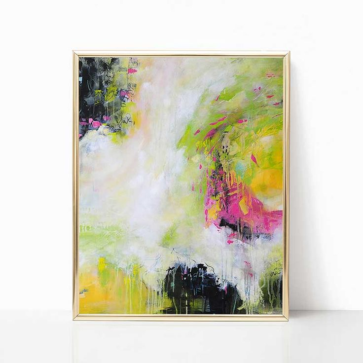 Abstract wall art, digital download, printable black, white, green and pink painting.