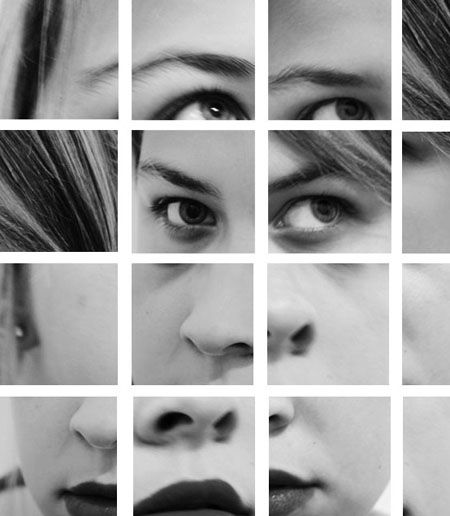 Mosaic Photo self portraiture. Taking photos of your face at different angles, different closeness and then collating them in different places and repeating.