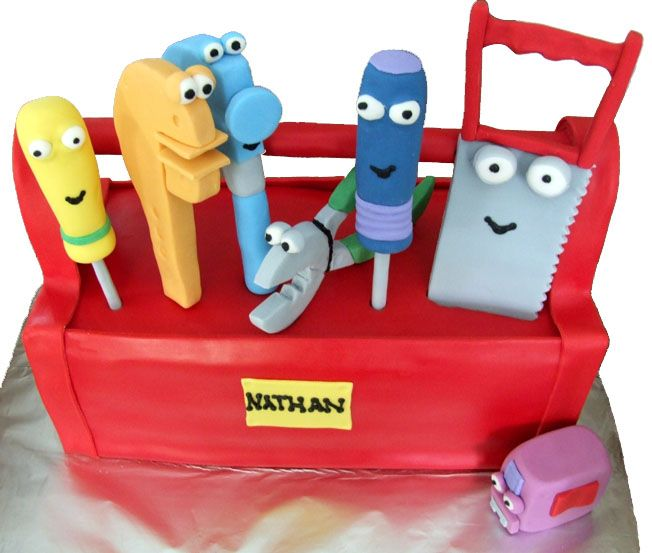 Handy manny tool box cake kids birthday cakes games for Handy manny decorations