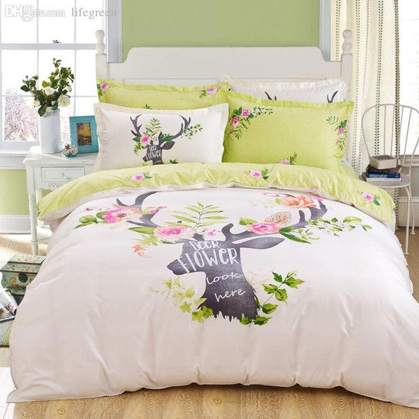 $57 Wholesale Deer Bedding Set Lawn Green And Beige Home Textiles Plain Printed 100% Cotton Comforter Set Queen The New Listing Dropship, Buy Cheap Duvet Covers For Men Cotton Duvet Cover Queen From Naper, $80.26| Dhgate Mobile