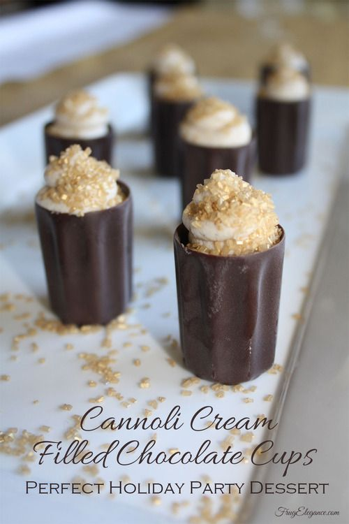Cannoli - Mascarpone Cream Filled Chocolate Cups= So easy to make & such an elegant dessert for your holiday gathering. Bite size for the perfect portion too!