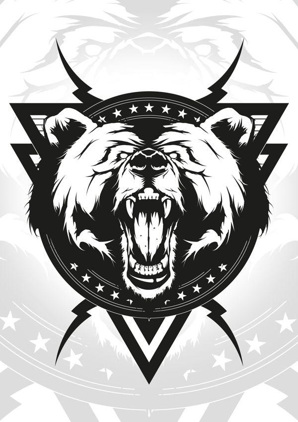 Angry bear by Arnaud Gomet, via Behance #vector #bear #design # ... Grizzly Bear Face Logo