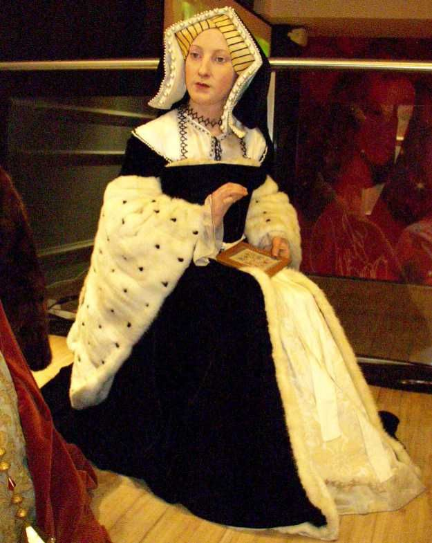 Catherine of Aragon wax figure.1st wife of Henry VIII. Motto: 'humble and loyal'