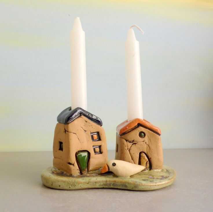 Candle stick holder , Shabbat Candle holders , Romantic gift pair of houses , Jewish Shabbat candle sticks holders , Ceramic candle holders by ednapio on Etsy