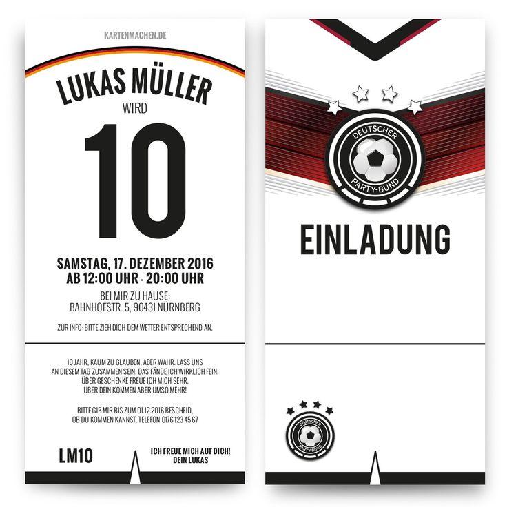 Einladungskarten zum Kindergeburtstag als Deutschland Trikot