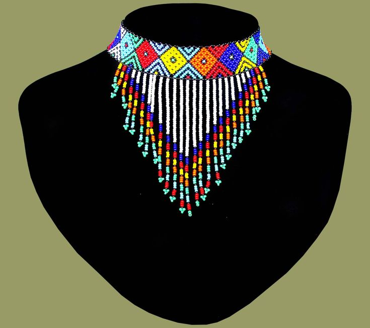 African Beaded Necklace Choker Tassle Zulu
