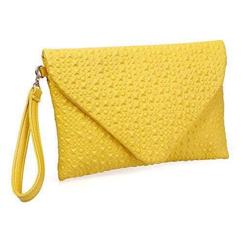 New Trending Clutch Bags: BMC Unique Canary Yellow Faux Leather Envelope Style Studded Square Circle Pattern Fashion Clutch. BMC Unique Canary Yellow Faux Leather Envelope Style Studded Square Circle Pattern Fashion Clutch   Special Offer: $17.66      188 Reviews Make a fashion statement with this canary yellow colored clutch and you will be the center of everyones attention. This great versatile clutch can also...