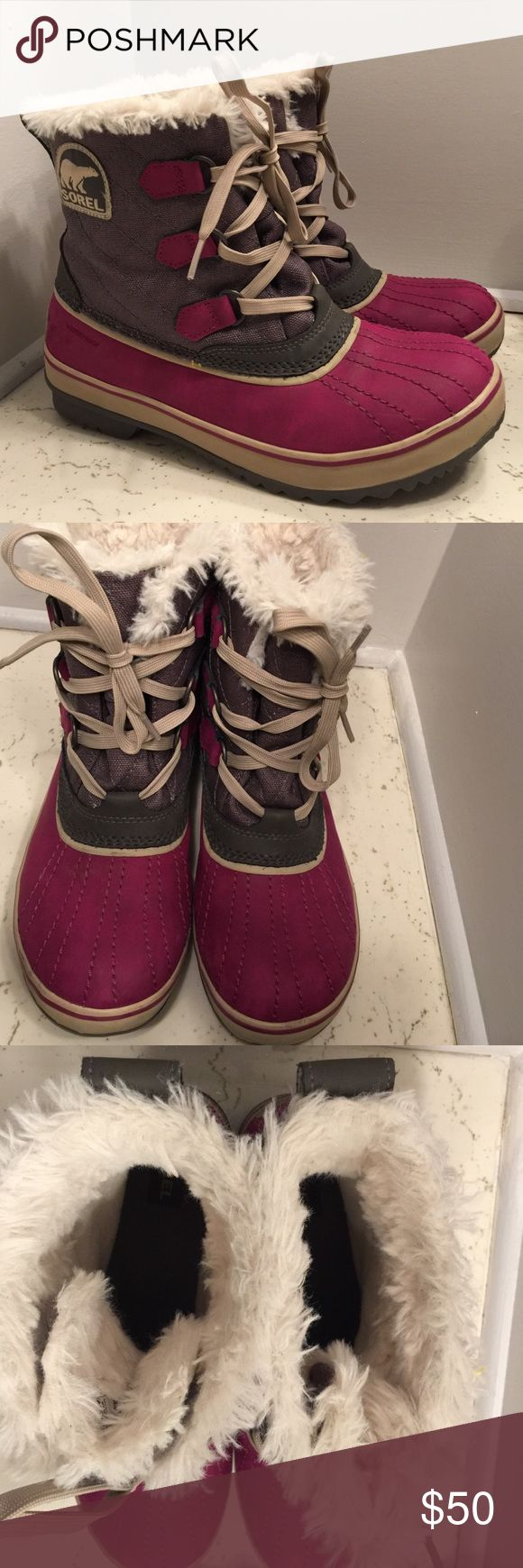SALE Sorel waterproof faux fur lined boots SZ 9 Sorel waterproof faux fur lined boots SZ 9. Close to new condition, not worn outside.  No box.  No wear on soles. Sorel Shoes Winter & Rain Boots