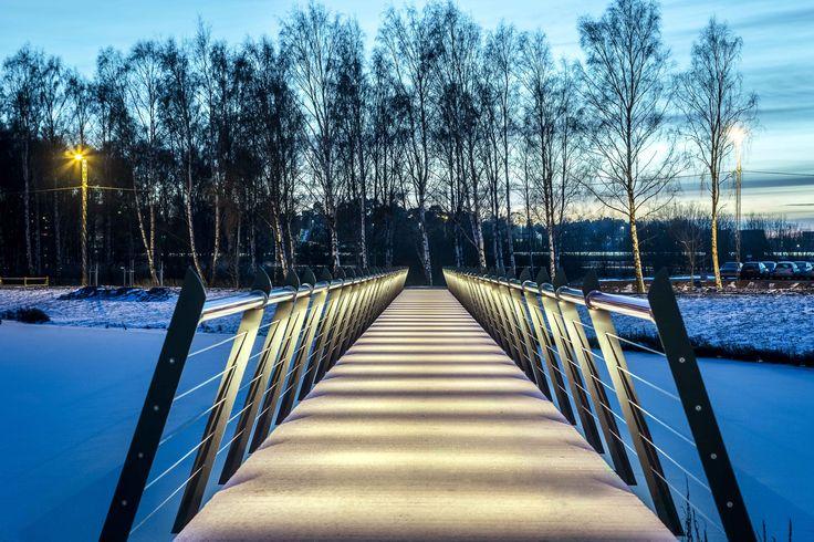 /Kyrkparken- Lighting design by Black Ljusdesign/ Black Lighting Design - Lighting Design - Architecture - Lighting - Public spaces - Outdoor - Park - Bridge - Handrail light -