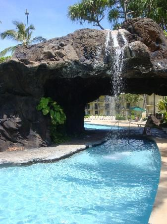 Pool at Kauai Beach Resort! My very first massage job was massaging clients in that very cave, back when it was the Outrigger hotel.