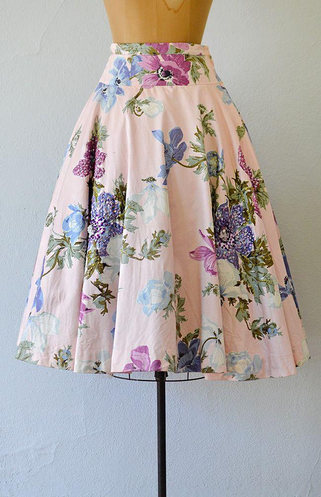 vintage 1950s pink floral beaded skirt