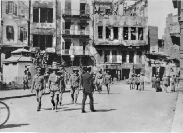 Damaged buildings in Cairo after Australian troops were involved in the Wassa riot in 1915.