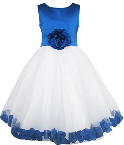 EL62 Sunny Fashion Little Girls Dress Blue Flower Tulle Pageant Bridesmaid 45 -- Click on the image for additional details.