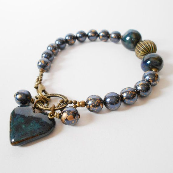 dark blue bead bracelet heart charm bracelet by jcudesigns on Etsy