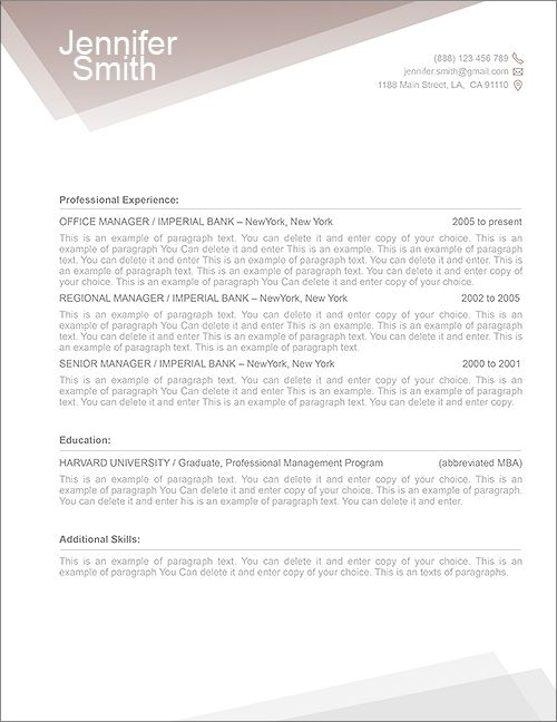 FREE Resume Template 1100010 - Premium line of Resume  Cover Letter