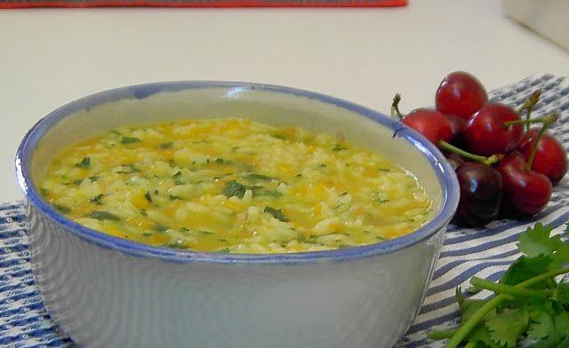 Receita de arroz de coentros e cenoura