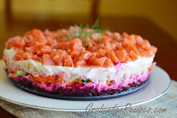 """Layered Russian """"Shuba"""" salad with Smoked Salmon"""