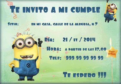 Invitación de cumpleaños Minion