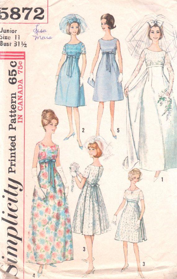 Simplicity 5872 1960s empire waist wedding dress pattern for Empire waist wedding dress patterns