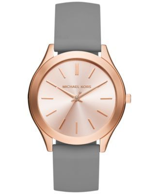 Michael Kors Women's Slim Runway Sporty Gray Silicone Strap Watch 42mm MK2512  | macys.com