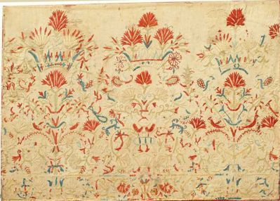 "Crete, Greek Islands, 18th century, silk on heavy linen, mounted, ground patched, stained and some holes, embroidery in good condition, fair condition, 18"" x 25 1/2"""