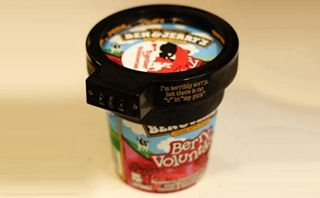 The ice cream lock comes with a plastic security clamp that fits around a pint of ice cream and takes a security combination for when you want to unlock