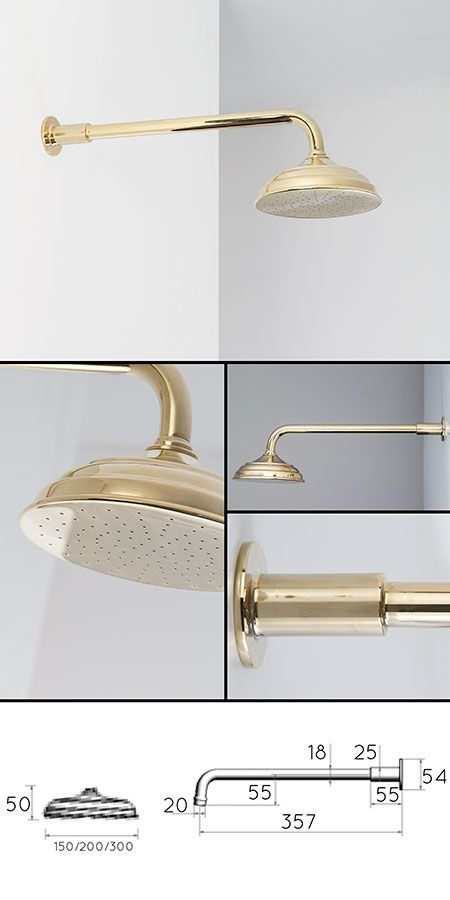 Traditional Gold Fixed Shower Head (43LL)