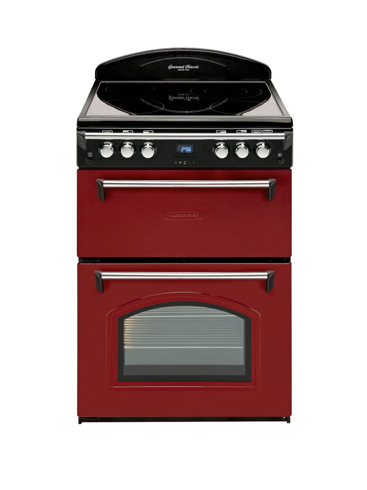 Leisure GRB6CVR 60cm Double Oven Electric Cooker - Red | Littlewoods.com This type of cooker has - ceramic top (easy to clean), separate grill/ oven for little amounts with pull down door, bottom oven has side opening door and 3 shelves, middle shelf extends outwards.. 30 amp above & below switch, wired into wall, not just plug in. Too expensive for me! RRP £629 BUT side opening door, extendable shelf and not setting self on fire & easy clean might be possible on a cheaper budget?