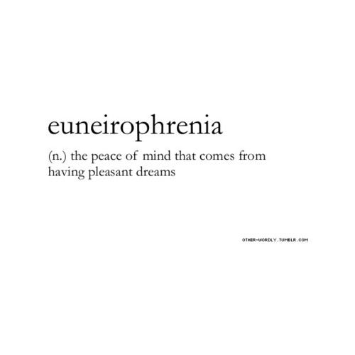 Euneirophrenia (n) : The peace of mind that comes from having pleasant dreams----maybe if I could fall asleep tonight. Grrr