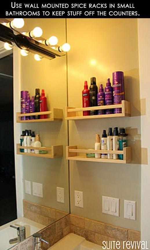 spice racks for toiletries big ideas for small spaces pinterest bathroom bathroom storage. Black Bedroom Furniture Sets. Home Design Ideas