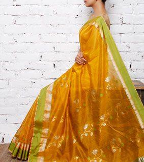 Yellow Chanderi Cotton Silk Saree with Zari Work
