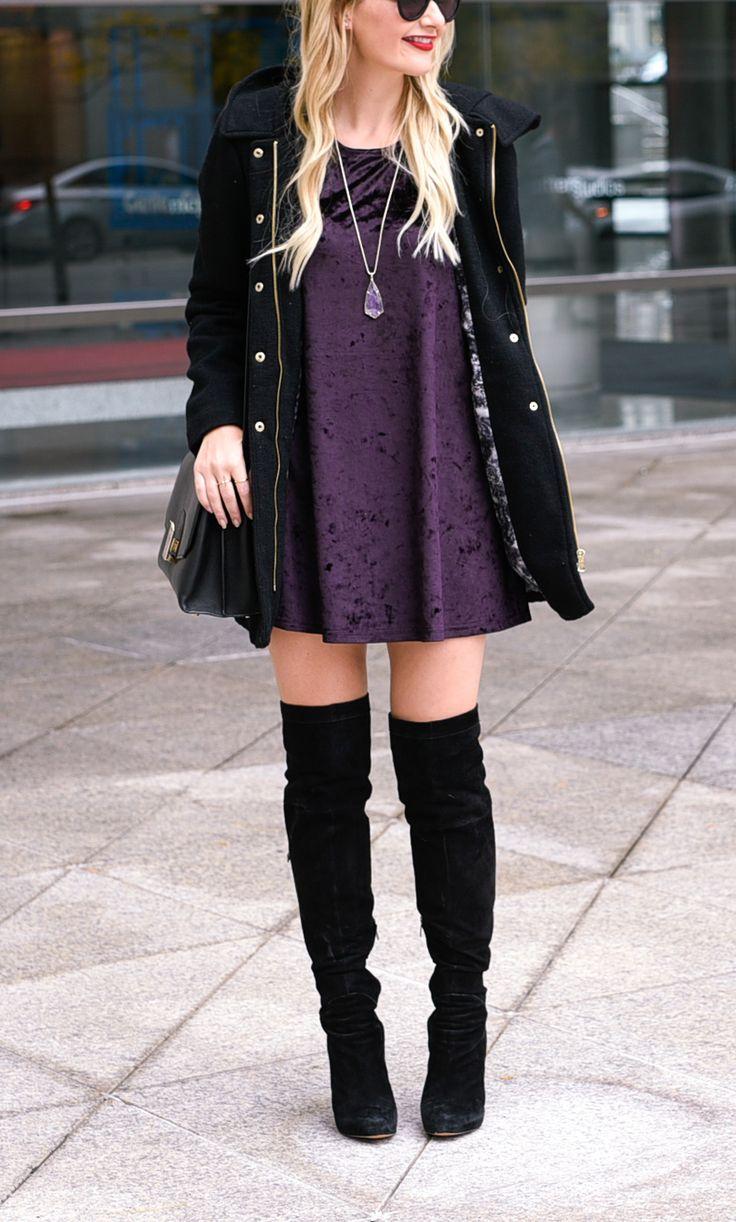 Purple velvet and OTK boots!