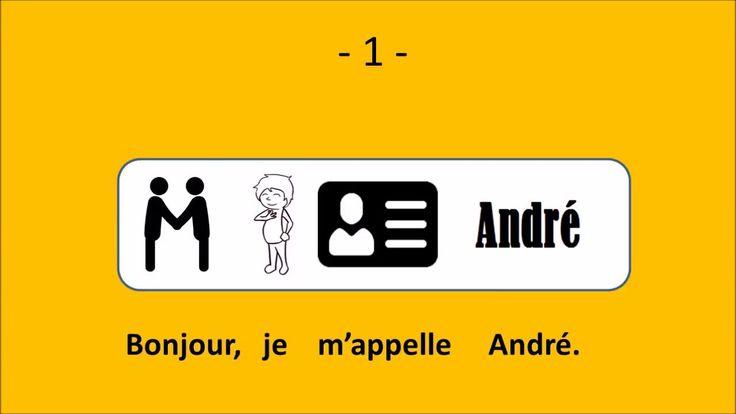 Le français illustré numéro 90 : Bonjour, je m'appelle André. Je suis le père de Xavier et Julie. Ma femme s'appelle Marguerite. Je suis professeur d'histoire. J'aime faire des gâteaux. Je regarde des films d'action. Mon sport favori, c'est le tennis. Le week-end, je vais pêcher.