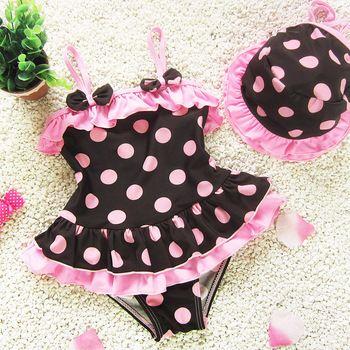 Новый детская малыша точка прекрасные купальники для девочек для 1-6 год бикини детские купальный костюм один купальник бесплатная доставка