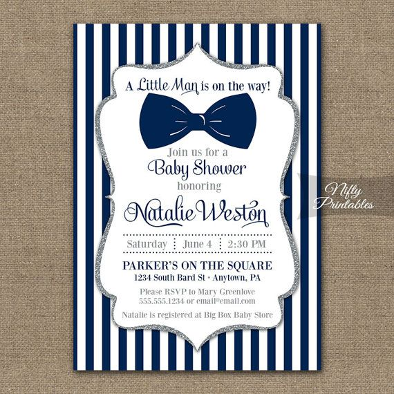 Bow Tie Baby Shower Invitations Printable Navy by NiftyPrintables