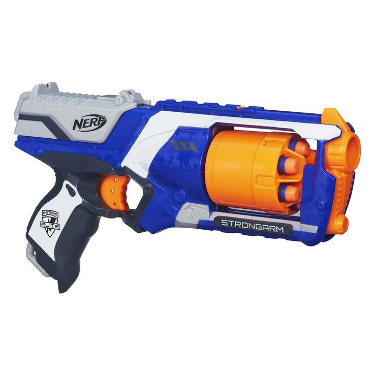 Designed for quick draws and fast firing, the N-Strike Elite Strongarm blaster puts elite battle performance in the palm of your hand. When speed and mobility are essential, this is the ultimate blaster. The rotating barrel holds 6 darts and the Slam Fire slide lets you blast as fast as you can fire.