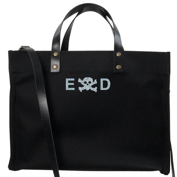 mimi tote - black- skull and crossbody silver glitter from Parker Thatch