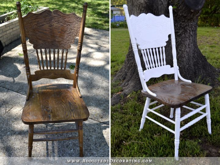 before and after, spray painted chair after stripping it and cerused the seat of the chair to match table top.