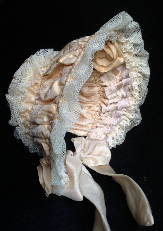 """Antique Reproduction bonnet for dolls. 10"""" head. $31.53 USD on etsy from Germany"""
