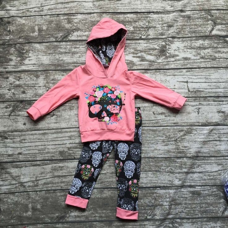 14.99$  Buy now - http://alick3.shopchina.info/1/go.php?t=32719928355 - Fall clothes kids long sleeve outfits baby girls hoodie clothing damask skull outfits floral clothing children boutique sets 14.99$ #buyininternet