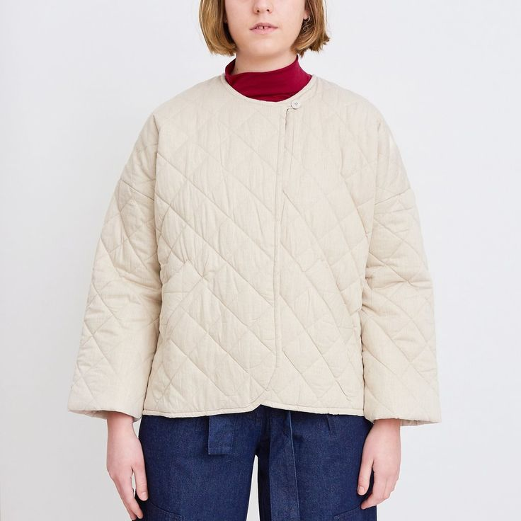 Anchor Quilted Jacket - Oatmeal