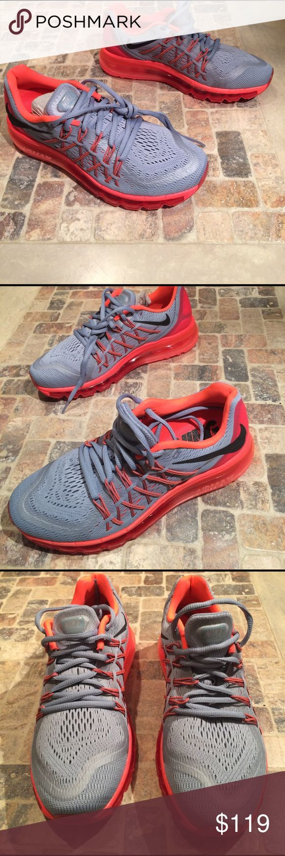 Woman's Air Max 360 size 8 Gray with bright crimson sole, and details...just a fabulous shoe. Breathable mesh with 360 air bubble around the entire sole. New with box, lid was removed for store display Nike Shoes Sneakers