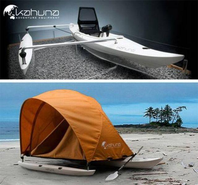 Kahuna est un concept de bateau-tente inspiré des pirogues à balancier polynésiennes.