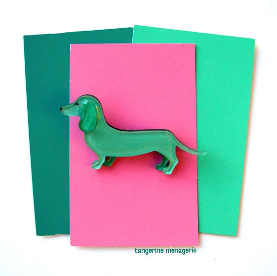 Mint Green Dachshund Vintage-Inspired Brooch by TangerineMenagerie